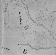 Plan cadastral ancien, 1827. Section A1, détail de Bourgchanin, échelle originale 1/2500e.