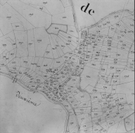 Plan cadastral ancien, 1827. Section A3, détail du village de Collet, échelle originale 1/2500e.