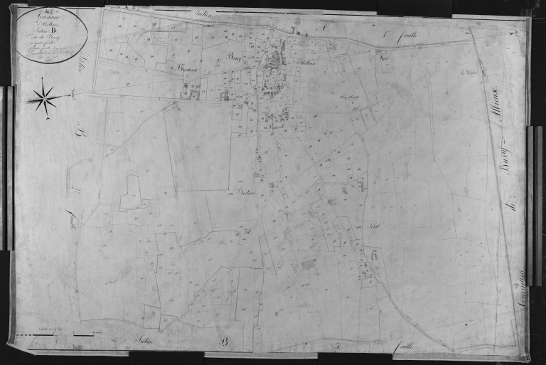 Plan cadastral ancien, 1826. Section B1 dite du Bourg, échelle originale 1/2500e.