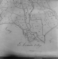 Plan cadastral ancien, 1827. Section A2, détail de le Roman, village, échelle originale 1/2500e.