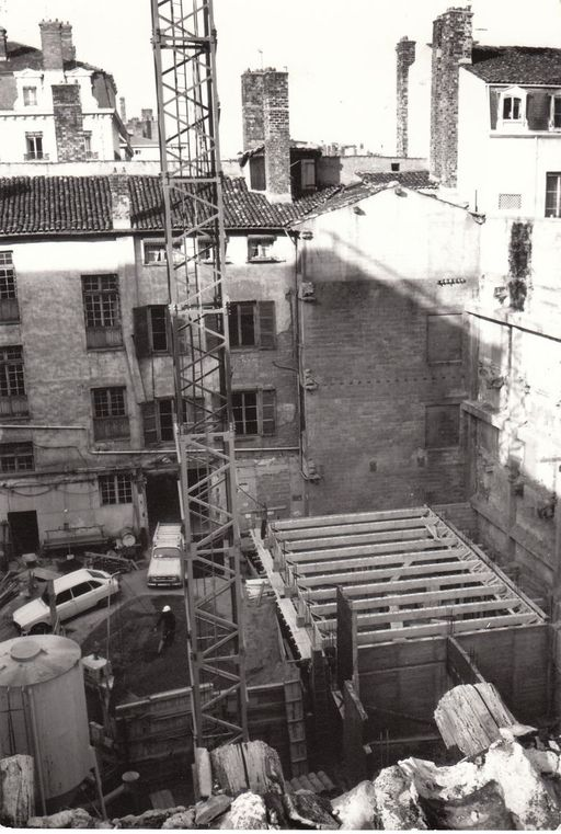 Chantier du bâtiment ISARA (2nd tranche), photographie ancienne, 1972