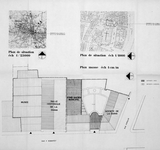 Plan de situation et plan masse. O. Daublain et P. Hanssen, architectes, 1989.