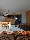 Ensemble de mobilier : table, chaise, tabouret, banquette, placard, lit