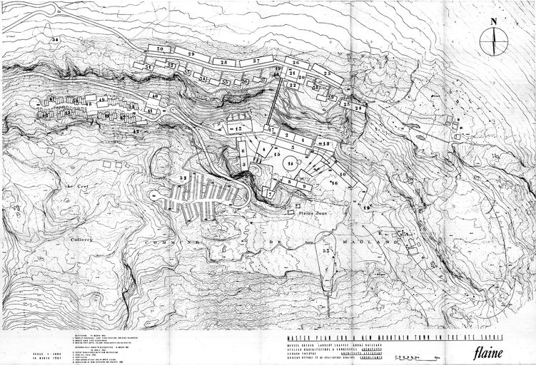 Master plan for a new moutain town in the Hte Savoie. M. Breuer, L. Chappis, A. Gaillard, Atelier d´Architecture à Courchevel, G. Chervaz architectes, 14 mars 1961. Modifié les 31 mars et 14 avril (AC Arâches-la-Frasse).