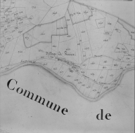 Plan cadastral ancien, 1827. Section A3, détail du village de Rivier, échelle originale 1/2500e.