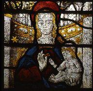 Détail de la baie 5 de l'église Saint-André de Saint-André-d'Apchon : Vierge à l'Enfant