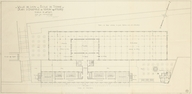 Ville de Lyon. Ecole de Tissage. Plan d´ensemble au niveau des Ateliers. 1927, 10 octobre. Garnier (Tony). Document figuré. Plan. 100 x 49,5 cm. 1:200. Archives municipales, Lyon. 2 S 00489